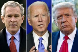 US Presidents George Bush, Donald Trump, Joe Biden
